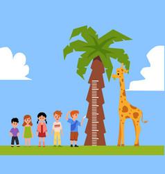 Cartoon giraffe for kids height measure - little vector