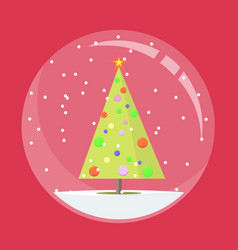 christmas snow globe with a fir-tree inside in vector image