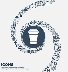 coffee icon in the center Around the many vector image