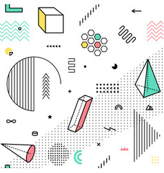 Color pattern with geometric graphic elements vector