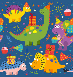 Colorful seamless pattern with dinosaurs birthday vector