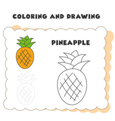 coloring and drawing book element pineapple vector image