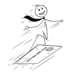 Conceptual cartoon of businessman on credit card vector