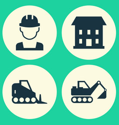 Construction icons set collection of home digger vector