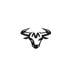 creative bull head head logo vector image