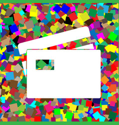 Credit card sign white icon on colorful vector