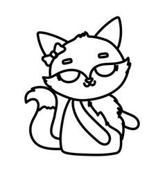 Cute animal female fox with bow cartoon thick line vector