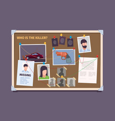 Detective board police officer evidence photo vector