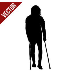 disabled man silhouette on crutches vector image