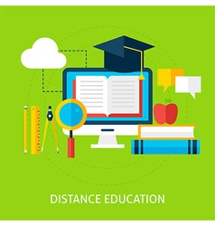 Distance education flat concept vector