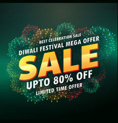 diwali sale banner poster with fireworks vector image