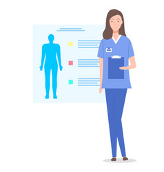 doctor or nurse with clipboard vector image
