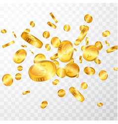 dollar gold coins explosion isolated on vector image