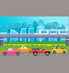 Drivers in automobiles on background modern vector