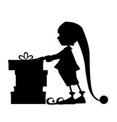 Elf silhouette and christmas gifts vector image