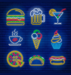 Fast food and drink neon signs vector