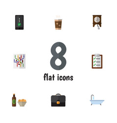 Flat icon lifestyle set of clock beer with chips vector
