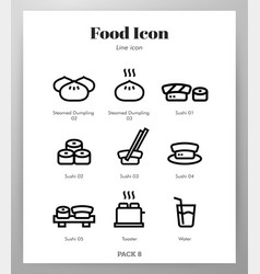 Food icons line pack vector