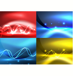 glowing shiny wave backgrounds set vector image