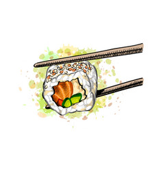 gunkan sushi with salmon vector image