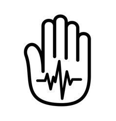 hand open palm heartbeat pulse logo vector image