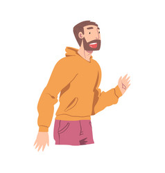 Happy bearded male character smiling with joy and vector