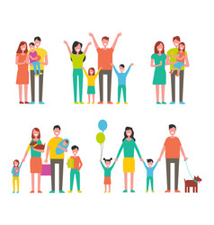 happy families set icon in cartoon style vector image