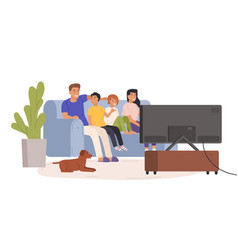 Happy family watching tv together flat vector