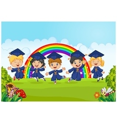 Happy little kids Graduation Celebration on rainbo vector image