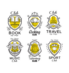 Hobby club logo design set badges with heraldic vector