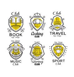 hobclub logo design set badges with heraldic vector image