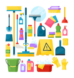 Household supplies and cleaning tools vector