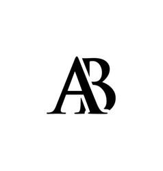 initial ab alphabet logo design template vector image