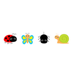 Insect set line butterfly ladybug ladybird vector