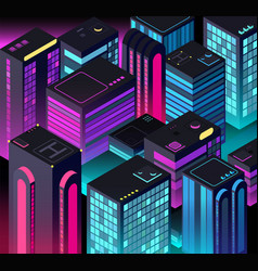 Isometric night city 3d illuminated buildings vector
