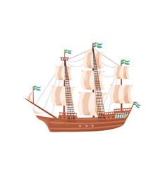 Large wooden ship with beige sails and blue flags vector