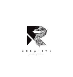 Letter r logo design icon with artistic grunge vector