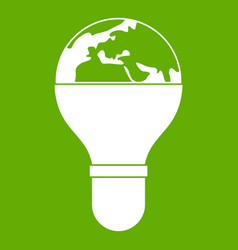 light bulb and planet earth icon green vector image