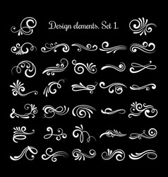 Line vintage scroll items for ornate design vector