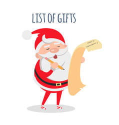 List gifts santa claus with wish list vector