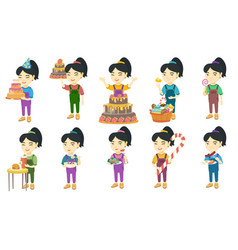 little asian girl set vector image