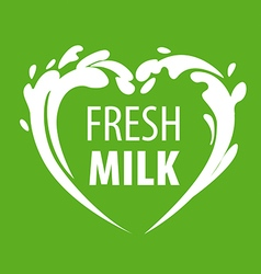 Logo splashes of milk in the form of heart vector