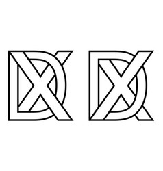 Logo xd dx icon sign two interlaced letters x d vector