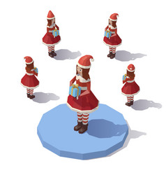 low poly christmas girl vector image
