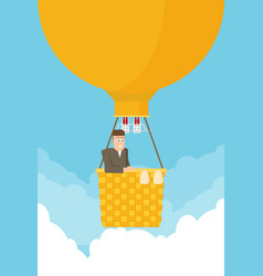 man in a hot air balloon planning summer vector image