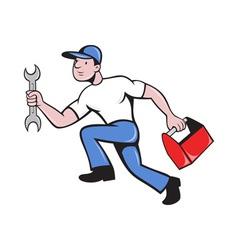 Mechanic repairman with spanner running vector