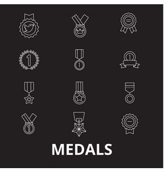 medals editable line icons set on black vector image