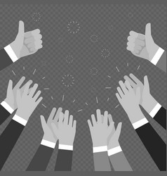 Monochrome hands clapping applasure isolated on vector