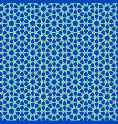 Muslim pattern in blue green and gold outline vector