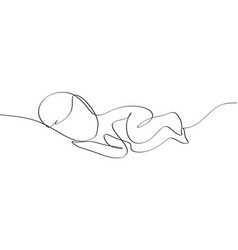 one line drawing a bacute sleeping baby vector image